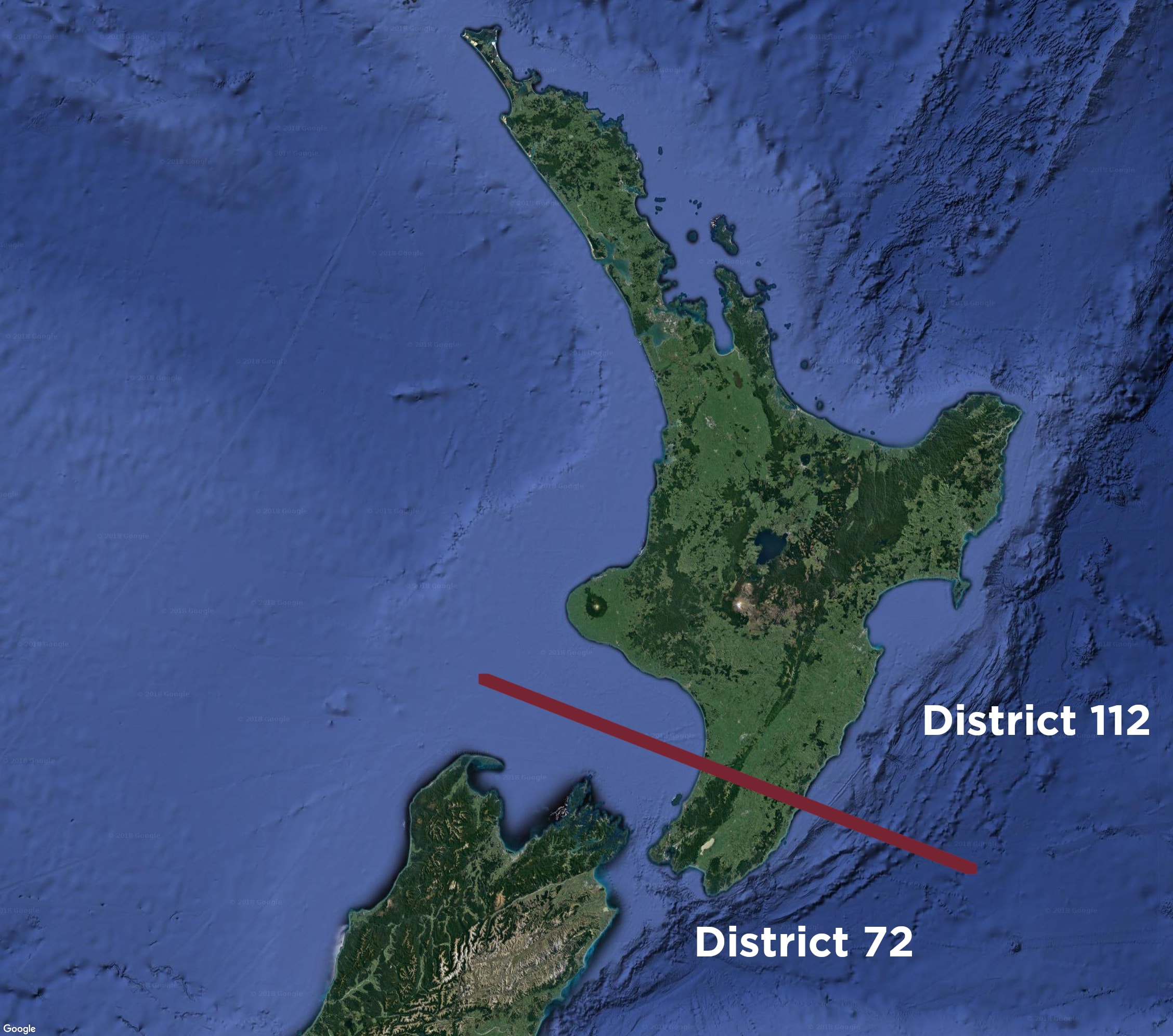 Map of NZ Showing split between two districts